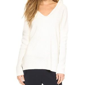 Vince Ivory Chevron V Neck Wool Cashmere Sweater M